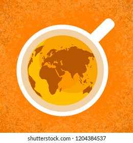 International Tea Day. Agricultural holiday concept. Cup of tea, top view. Continents silhouettes. Grunge background
