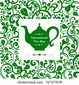 International Tea Day. December 15. Teapot with floral design elements.Vector Illustration.
