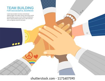 International Team Building group of different Race and different sexual orientation Business partners with Hands Stacked on white background. Arms of sucessful People Teamwork with on Stack