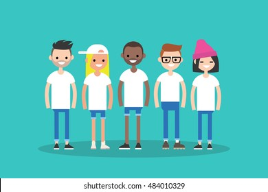 International team. Modern society concept. Diversity. Global Community representing different nations. Group of international students. Flat vector clip art illustration.