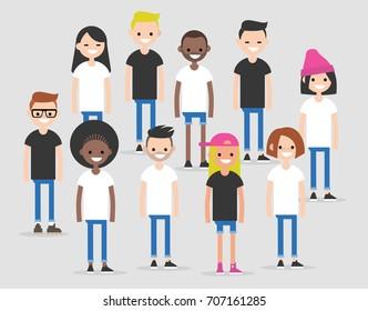 International team. Modern society concept. Diversity. Global Community representing different nations. Group of international students. Flat vector clip art illustration.