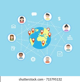 International Teamwork - vector flat illustration. Remote team work on a common project. Workers icons are linked around the globe.