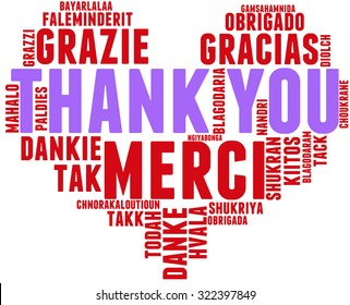 International Thank You Heart Shaped Word Cloud On a White Background. Each word in this word cloud is another language's version of the word Thank You.