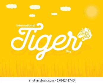 International Tiger Day Creative Design with Yellow Base and grass with clouds also tiger face