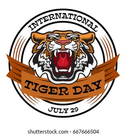 International Tiger Day emblem with angry tiger head. Vector illustration. Card in cartoon style.