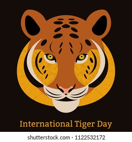 International Tiger Day. July 29. The concept of an ecological holiday. Wild mammal is an animal. Cartoon style. Some elements with a texture