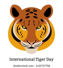 International Tiger Day. July 29. The concept of an ecological holiday. Wild mammal is an animal. Cartoon style.