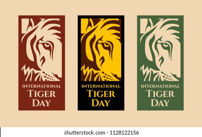 International Tiger day. July 29. Template for your design. Emblem design. Isolated artwork object. Three vector cards with isolated parts of tiger face and inscriptions. Vector color illustration.