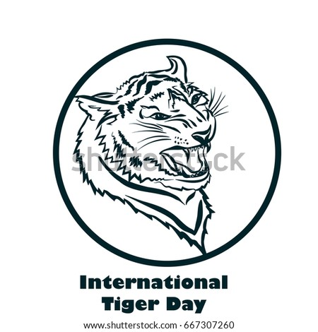 International Tiger Day Poster Template Angry Stock Vector Royalty