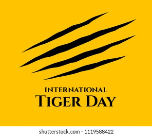 International Tiger day. Scrapes from the claws of a tiger.  Four nails trace. July 29. Template for your design. Vector card with isolated flat design. Vector illustration.