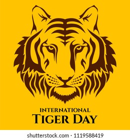 International Tiger day. Tiger's head vector color illustration. July 29. Template for your design. Vector card with isolated flat style tiger face and inscription.