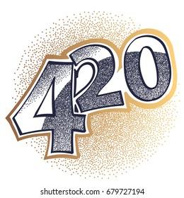 International time for smoking Marijuana 16.20. Vector silhouette. Illustration isolated on white background
