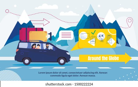 International Tourism and Travel Around Globe Advertising Poster. Holiday Vacation Global Travelling. Road Trip by Car, Airplane. Flat Mountains Landscape. Man Woman Driving Auto. Vector Illustration