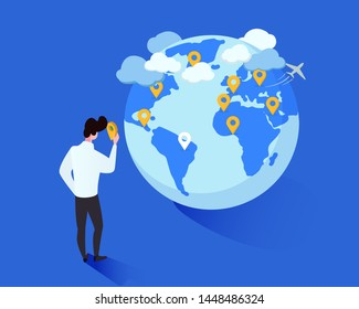 International tourism vector isometric illustration. Cartoon man placing geotags on globe cartoon character. Tourist planning future foreign trips destinations, traveler marking journeys wishlist