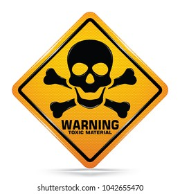 International Toxic Hazard Symbol, Yellow Warning Dangerous icon on white background, Attracting attention Security First sign, Idea for graphic, web design, Vector, EPS10.