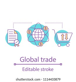 International trade concept icon. Global purchasing idea thin line illustration. Worldwide distribution. Vector isolated outline drawing. Editable stroke