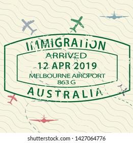 International travel visa passport stamp icon for entering to Australia