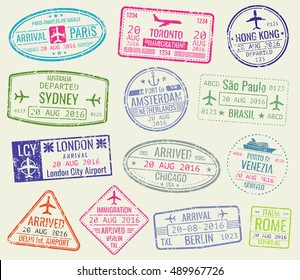 International travel visa passport stamps vector set. Paris and toronto, hong kong and port of amsterdam illustration