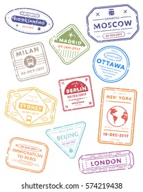 International travel visa stamps vector isolated on white background. Arrivals sign rubber stamps. New York, Beijing, London, Sydney and other cities sign.