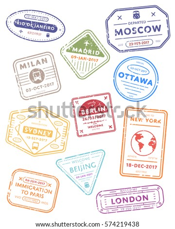 International Travel Visa Stamps Vector Isolated Stock Vector