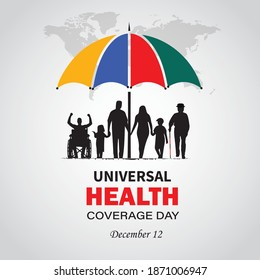 International Universal Health Coverage Day. December 12.  Template for background, banner, card, poster with text inscription. Vector illustration