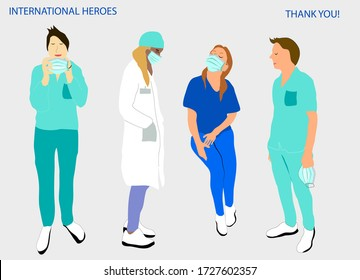 International vector illustration with medical staff.Thank you doctors and nurses. Team of medics working agains coronavirus. Doctors are heroes.