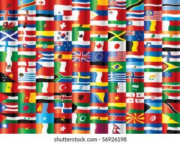 International warp flags. 130 vector flags.
