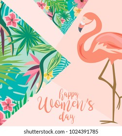 International Woman's Day greeting card with tropical flowers. Vector illustration
