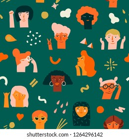 International women day 8 of March seamless pattern with various of women faces different race, age and profession. Feminism illustration collection.
