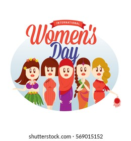 International women day/ Beautiful faces of different ethic/ Female figure illustration/ Ladies in cultural costume / Backdrop design with human figure/ Masthead design/ Women's campaign theme
