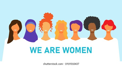 International women day. Diverse female portraits of different nationalities and cultures isolated from the background. The concept of the women's empowerment movement. Vector illustration