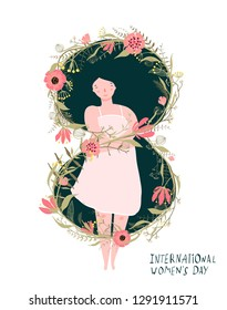 International Women Day Romantic Girl. Celebrating 8th of march, women day. Number 8 floral design.