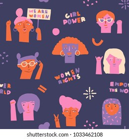International women day seamless pattern with various of protested women. 8 march poster design in vector. Feminism quotes and female motivational slogan.