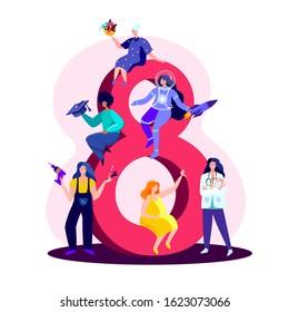 International Women Day.Feminism concept.Different Ladies Builder,Doctor,Cosmonaut,Pregnant,Elderly,Educated.Sit on Eight March.Motivation Feminine, Female,Woman Empowerment.Flat vector illustration