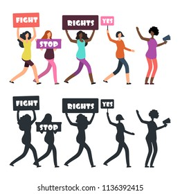 International women protesters walking on manifestation. Feminism, womens rights and protest vector concept. Female protesters silhouette illustration