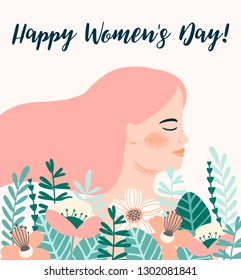 International Women s Day. Vector template with woman and flowers for card, poster, flyer and other users