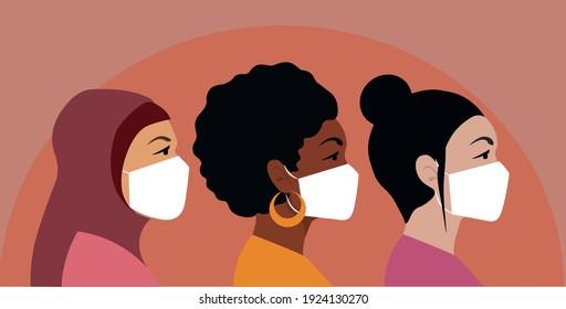 International women wear medical masks, vector