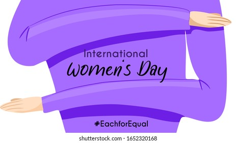 International women's day 2020 theme : each for equal. Women do the sign of the campaign. Purple or violet theme. Vector illustration. flat design