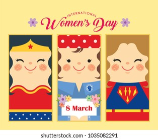 International Women's Day - 8 march template design or copy space. Set of cute woman in flat vector design for label, tag, bookmark or greeting card.