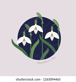 2e27e412565 Floral spring background of spring flowers snowdrops. Flat illustration