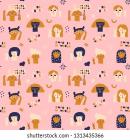 International Women's Day 8 of march seamless pattern in vector. Protesting women illustration.