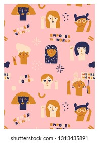 International Women's Day 8 of march card or poster in vector. Protesting women illustration.