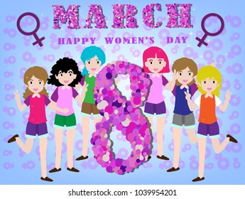 International Women's Day 8 March.design in colorful. Template for a poster, cards, banner.vector