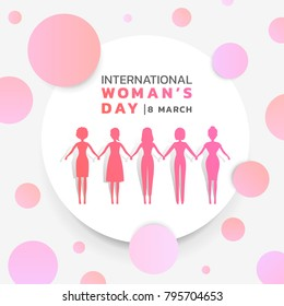international women's day with background pink purple womans group holding hands together in white circle and abstract pink purple circle texture vector banner design