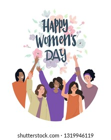 international women's day background vector with woman shape characters element