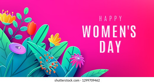 International Womens Day banner with fantasy paper cut flowers, leaves, font greeting text. Corner composition, origami design. Vector illustration.