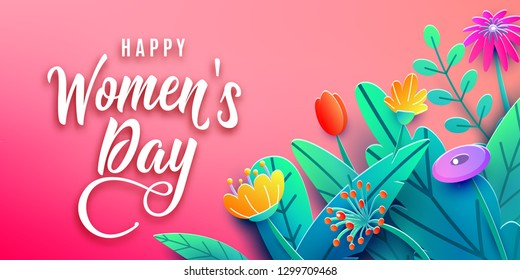 International Womens Day banner with fantasy paper cut flowers, leaves, handwritten font greeting text. Corner composition, origami design. Vector illustration.