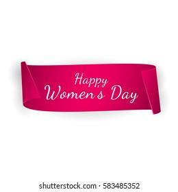 International Women's day banner. Ribbon 8 March. Paper scrolls. Vector illustration.