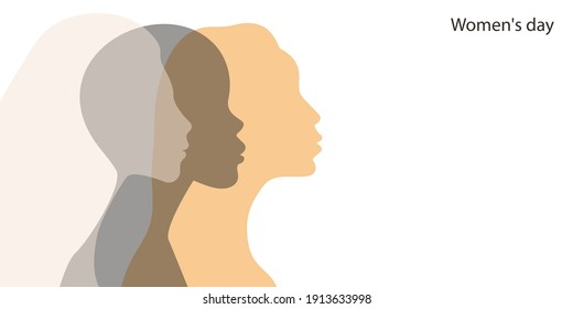 International womens day banner with young women. Fight for equal rights. Profiles of girls of different races. Vector illustration