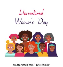 International Women's Day.  Card, poster or banner with devierse group of women